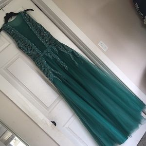 New Stunning Teal Dress with beading & rhinestones
